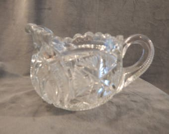 Vintage Cut Glass Creamer 1930's - 1950's