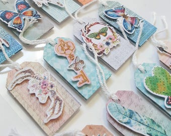 Sticker Sheet – Set of 12 3D Stickers – Tags Cards Hang Tags– Embellishments – Bohemian - Feathers Butterflies Antlers Cactus