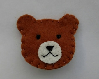 Tan Light Brown Bear Hand Embroidered Pin Brooch