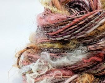 Handspun Art Yarn, Textured Yarn, Knitting, Weaving Yarn, Crochet, Worsted Weight Yarn, Red, Orange, Handspun Yarn, Art Yarn - FIRESIDE