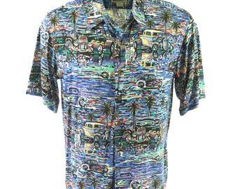 Vintage 90s Reyn Spooner Hawaiian Shirt Mens L Eddy Y Hot Rod Cars Deadstock [H92Y_0-8]