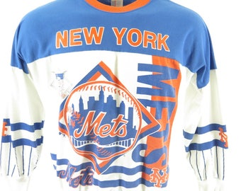 Vintage 90s New York Mets Sweatshirt Mens XL Garan MLB Baseball Sports 50/50 USA [H99C_0-12]