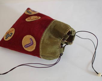 Leather Kinchaku Pouch / Japanese Drawstring Pouch/ Pig Suede/ Kinchaku Purse / Kinchaku Bag / Japanese style Kinchaku Bag