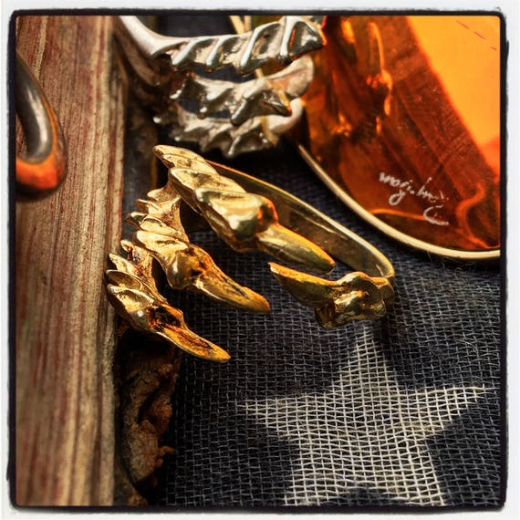 Etherial Jewelry Rock Chic Talisman Luxury Biker Custom Handmade Artisan Pure Sterling Silver 925 Handcrafted American Eagle Talon Claw Ring