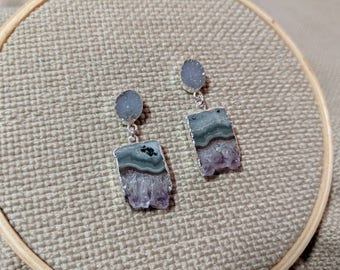 Druzy Amethyst Silver Plated Earrings - Druzy Post Earrings - Green and Purple Amethyst Slice Earrings - Crystal Earrings