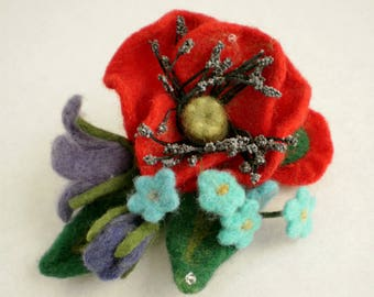 Brooch made of wool Bouquet with poppy seeds Handmade