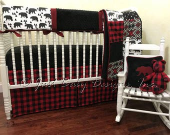 Baby Boy Crib Bedding Moose And Bears Black Arrows Red