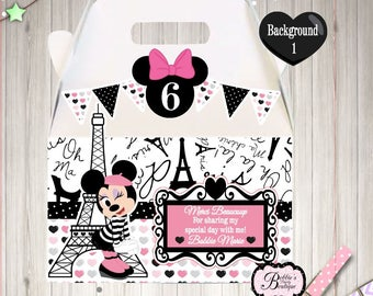 Minnie Mouse in Paris Party favor box, Minnie Mouse gable box, 10 Minnie Mouse party favor gable box, Pink  Minnie Mouse favor box