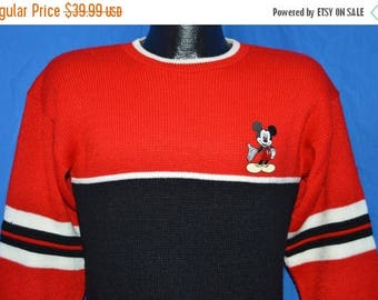 ON SALE 80s Mickey Mouse Disney Red Black Striped Vintage Pullover Sweater Small