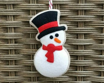 Cute felt christmas snowman ornament
