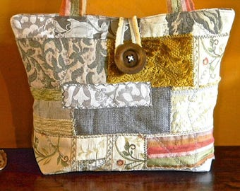 145 - Handmade new model, gray beige bag, patchwork