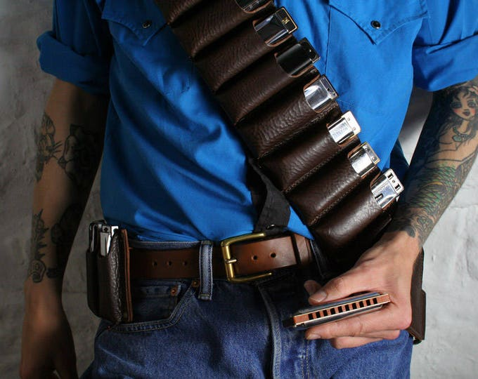 Featured listing image: Leather Harmonica Bandolier