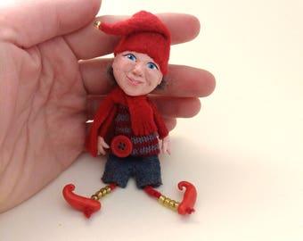 Christmas gnome, Miniature dwarf, Christmas elf, Christmas dwarf, Brooch dwarf doll, Christmas dwarf decor, gnome little doll, dwarf brooch