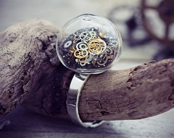 Steampunk Jewelry Steam Punk Ring Watch Part Cogs Gears Hawaiian Black Sand Jewellery Steampunk Gothic Victorian Statement Ring Glass Bubble