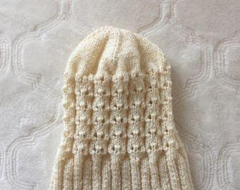 White wool toddler beanie
