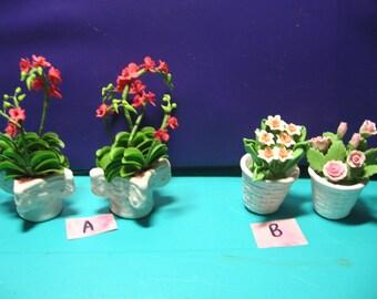 Dollhouse, miniatures, planters, stone floral arrangements, fairyland, landscaping   (Stone Planters )