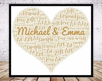 Personalised Word Art Gift Framed Heart Design Wedding Anniversary Engagement Birthday Son Daughter Auntie Sister