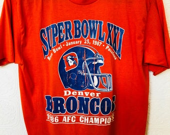 Super Bowl XXI Denver Broncos 50/59 tee.
