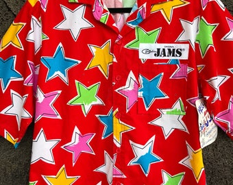 1980's Jams World Star Print Button Down