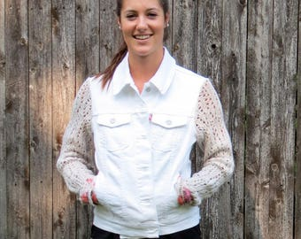 Natural Open Knit Sleeves with floral cuffs Mixed Media White Stretch Denim Jacket