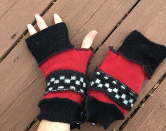 Soft Red + Black Checkered Cashmere Felted Wool Fingerless Mittens