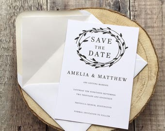 Willow Save the Date Cards, Wedding Save the Date Card