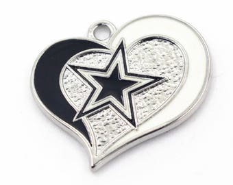 Dallas Cowboys Football Charm, Dallas Cowboys Heart Charm