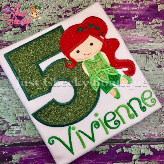 Poison Ivy Inspired Cutie Birthday Shirt - Superhero Embroidered Shirt - DC Superhero Girls Birthday Shirt