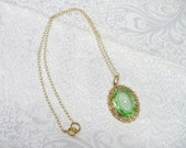 RESERVED -ROBIN - Vintage Authentic 1920s Art Deco Green CAMPHOR Glass and Gold/Brass Tone Metal Pendant Necklace - 20 inch necklace