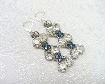 Vintage Rhinestone Bogoff Repurposed Blue and Clear Earrings - silver tone metal - repurposed bogoff pieces - lever back - ONE (1) Upcycled