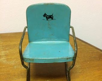 Vintage scotty dog metal chair. Doll chair. Metal lawn chair.
