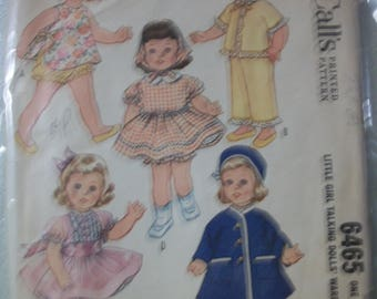 "McCall 6465 Little girl talking dolls' wardrobe (19""-20""). Fitts Chatty Cathy, Gabby Linda. Also fits other dolls"