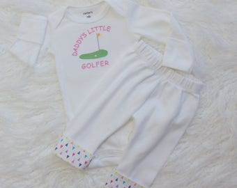 Newborn Girl Coming Home from Hospital Outfit. Daddy's Little Golfer Embroidered Bodysuit. Knit Pants w/ Adjustable Cuffs. Take Home Outfit