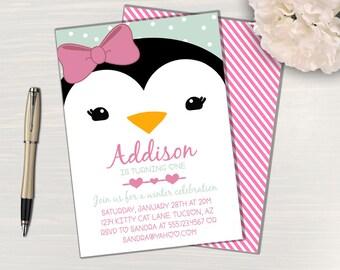 Penguin Party Invitation // Penguin Birthday Invitation // Penguin Invitation // Penguin Party Invite // Penguin Birthday Party Invite