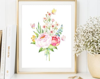 Watercolor Flowers Print, Watercolor Peony Bouquet poster, Watercolor Butterflies Printable sign, Art Print 8x10 and 11x14, DIGITAL FILES