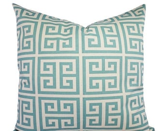 15% OFF SALE Spa Blue Pillow Covers - 2 Greek Key Decorative Pillow Covers Light Blue and Beige - Throw Pillow Spa Blue Accent Pillow