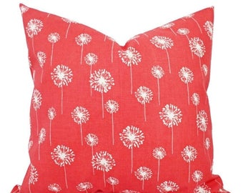 15% OFF SALE Two Coral Throw Pillows - Dandelion Pillows - Coral Dandelion Decorative Throw Pillows - Couch Pillows - Accent Pillow - Coral
