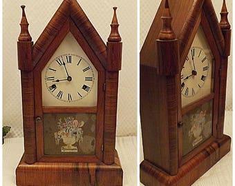 Antique 1870 Wm Gilbert Mahogany Steeple Clock Small Gothic Model