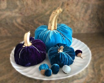 Lush Set of 3 Silk Velvet Beachy Blue & Purple Pumpkins w/5 Acorns, Real Stems, Fall Decor, Thanksgiving Centerpiece, Great Hostess Gift