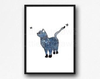 Cat Print Blue Cat With Butterflies Art Print Cat Wall Art Print Cat Illustration Print Cat Lover Gift Home Decor Bedroom Wall Decor