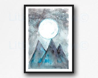 Moon Mountains Landscape Watercolor Painting Art Print Abstract Landscape Print Living Room Decor Wall Art Poster Print