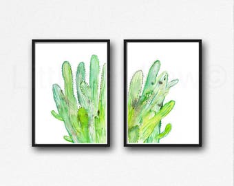 Cactus Print Set Of 2 Cacti Watercolor Painting Print Cactus Art Print Nature Print Living Room Wall Decor Wall Art Unframed
