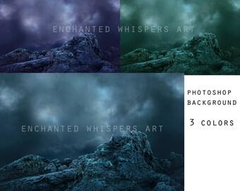 stormy sky and rocks Photoshop background