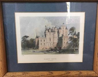 Vintage Framed Print of GLAMIS CASTLE Forfarshire SCOTLAND