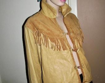 Davey Crocket leather jacket.Vintage suede and leather jacket with tassels.