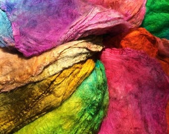 SALE Hand dyed Silk Hankies Multi pack, cold and warm mix