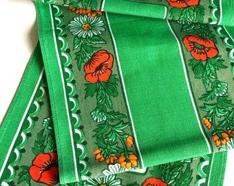 60s retro table runner. Vintage linens Floral print Flower power Flowery pattern. Spring Easter swedish floral vintage runner Tablecloth
