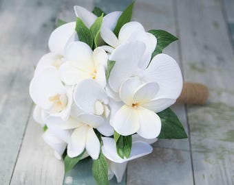 Wedding White Orchids and Plumerias Silk Flower Wedding Bouquet - White Natural Touch Silk Bridal Bouquet