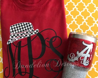 Alabama Crimson Tide Monogram Shirt and glitter tumbler set Houndstooth Bear Bryant Roll Tide women's Long Sleeve