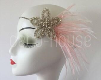 BLUSH PINK Ostrich Feather Head Dress Headband with Rhinestone Flower Gatsby Party